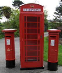 Two of our new replica post boxes alongside a Phoney Box